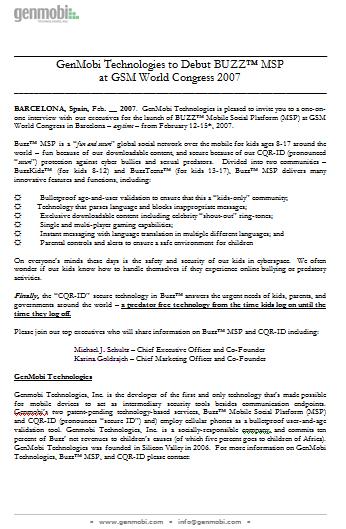 Press Release: Participação no 3GSM