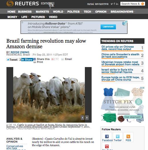 Artigo na Reuters, EUA