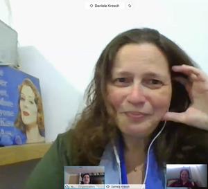 Zoom video call com a jornalista Daniela Kresch