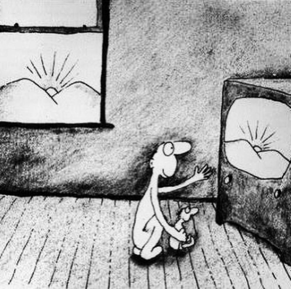 Pessoa hipnotizada pela televisão - Perdendo de viver por causa da TV