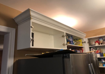 During Kitchen Remodel - new paint finish, crown molding
