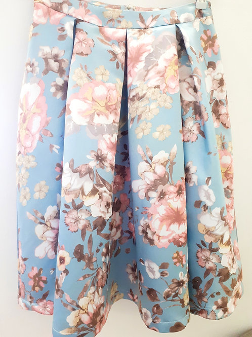 A-line satin floral skirt with pockets
