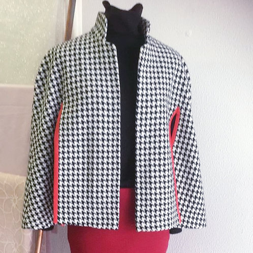 Houndstooth Cape with red trim