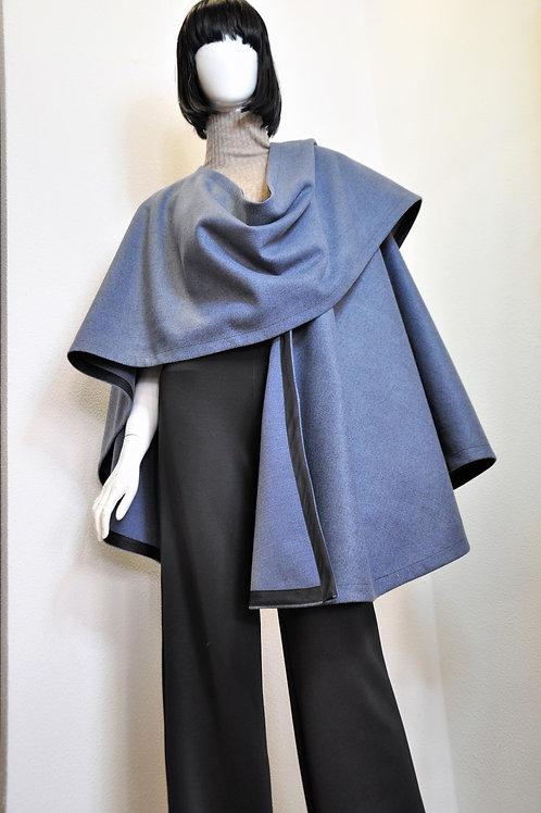 Poncho Wrap with fabric trim