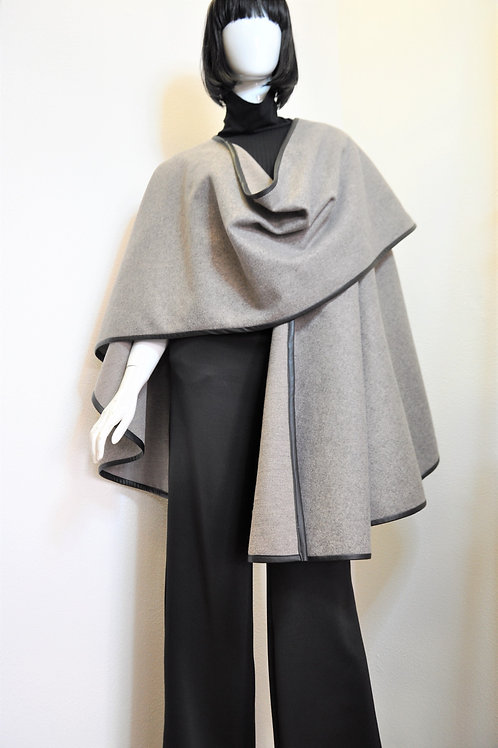 Poncho Wrap with faux leather trim