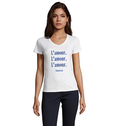 """Tee-Shirt """"A""""mour du Bleu Col V"""