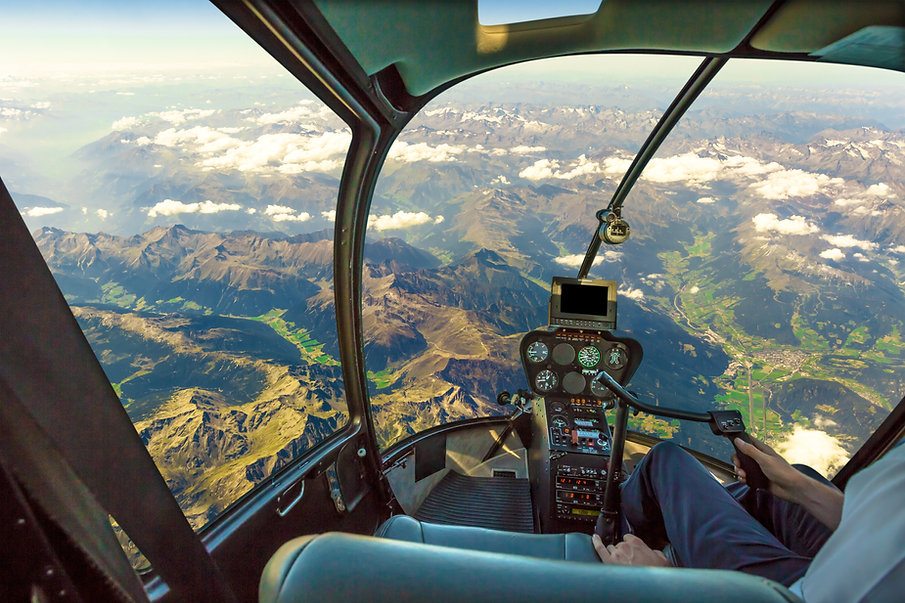 Helicopter cockpit flying on mountain la