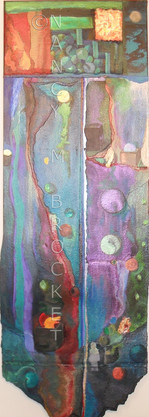 """34""""h x 12"""" w, watersoluble oil on canvas and paper $1500"""