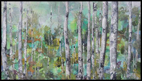 Summer Aspens 13 x 23 in float frame