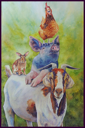 "Life On The Funny Farm giclee print 16 x 24"""