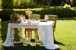 Vintage Sweetheart Table + Green Chairs