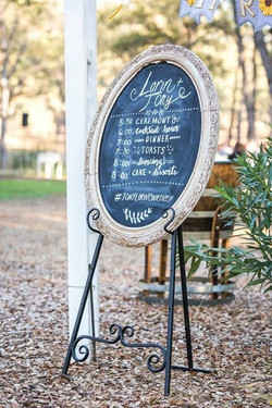 Ornate Oval Chalkboard w/Easel