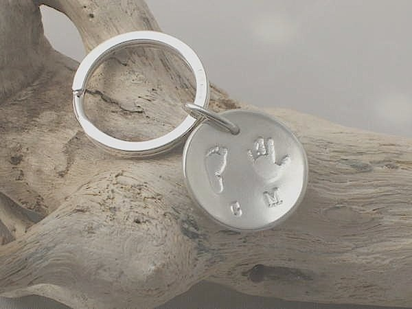 Hand and footprint key ring