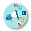 icone de campanhas comunicação e gestao de redes sociais