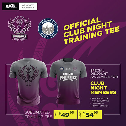 Baseline Phoenix Basketball - Official Club Night Training Tee  $49.95 to $54.95