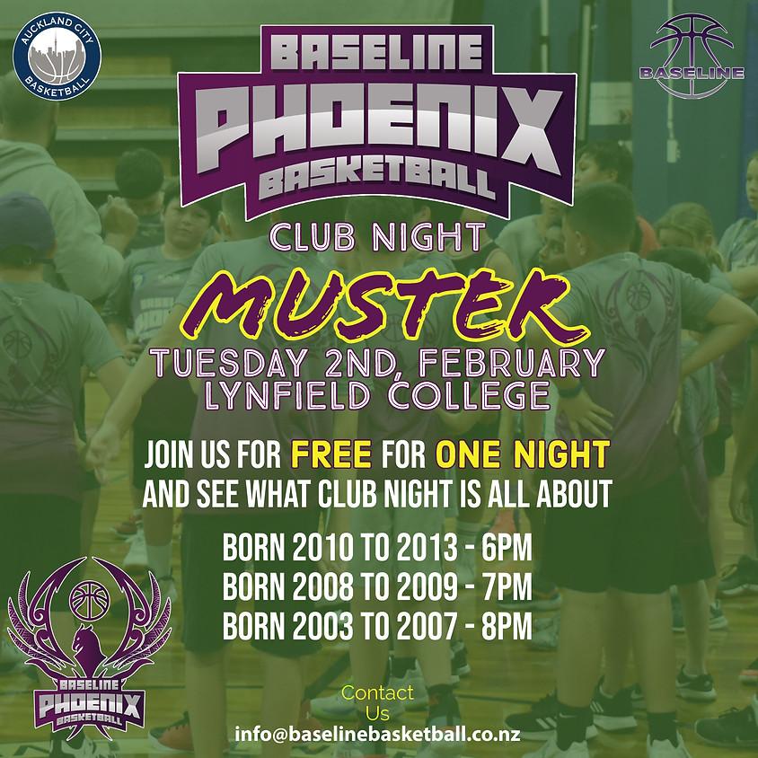 Baseline Phoenix Basketball Club - Club Night MUSTER