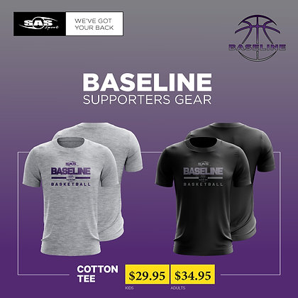 Baseline Basketball Limited - Supporters Cotton Tee - $29.95 to $34.95