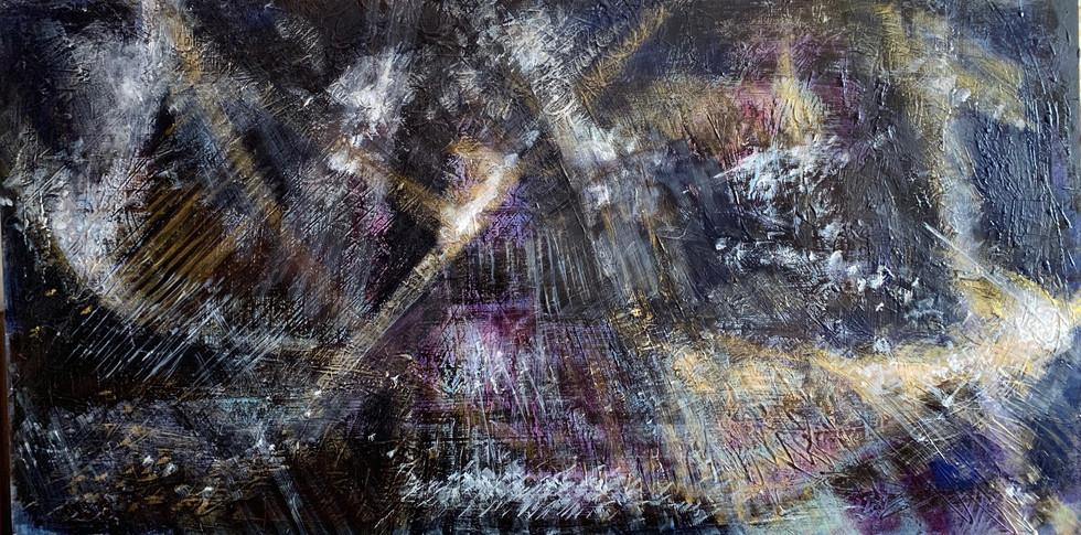 Universe acrylic on wood 72x144 cm