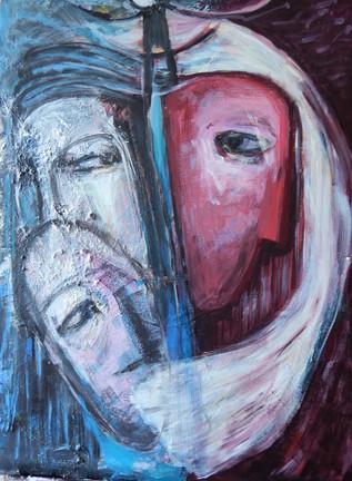 Moonlight women 2004 acrylic on canvas 80x60 cm