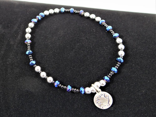 Blue Chinese Crystal and Stainless Steel Bracelet 1