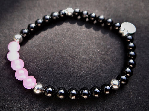 Pink Jade and Onyx Bracelet