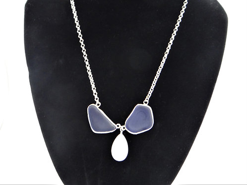 """Blue Ocean"" Sea glass and shell necklace"
