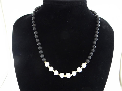 """""""Elegance"""" Pearl and Lava Necklace"""