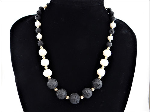 """Regal"" Pearl, Lava and 14CT Gold Filled Necklace"