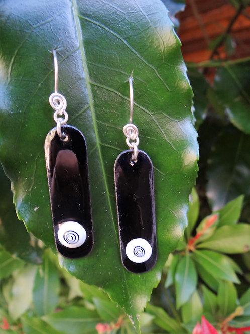 Black and white swirl enamelled earrings