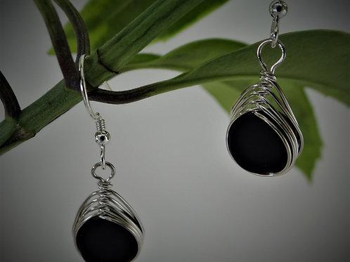 Black Herringbone Earrings