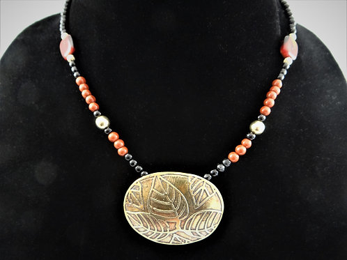 'Back to Nature' Etched Brass and Red Jasper Necklace