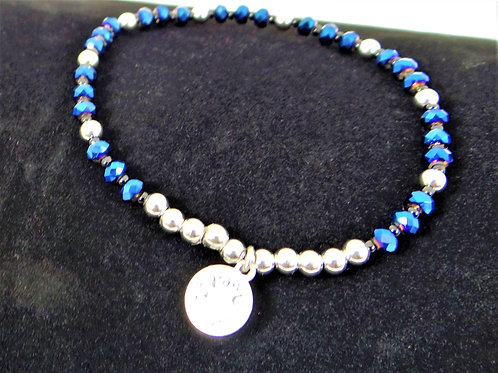 Blue Chinese Crystal and Stainless Steel Bracelet 2