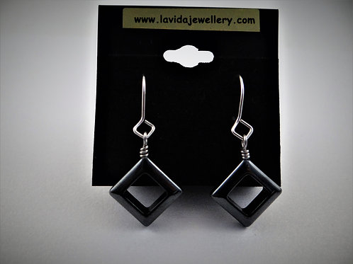 Square haematite earrings