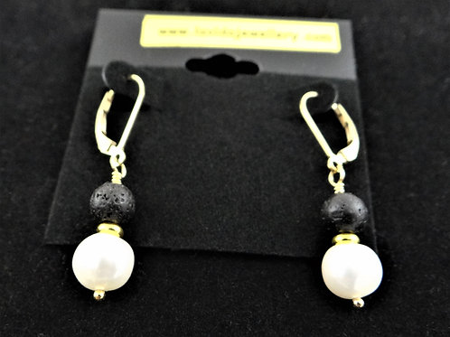 Lava, Pearl and 14CT Gold Filled earrings