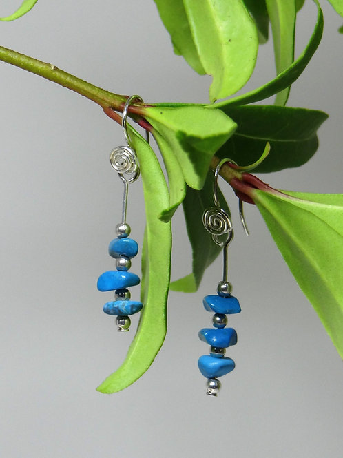 Turquoise and Argentium Silver Earrings