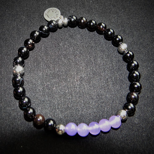 Purple Jade and Onyx Bracelet