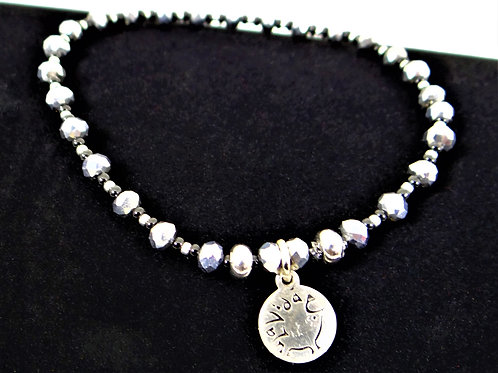 Silver Chinese 'Crystal and Seed Bead Bracelet