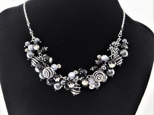 Black Cluster Necklace