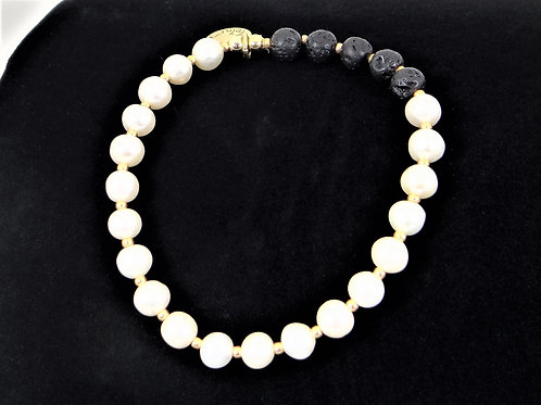 """Elegance"" Pearl and Lava Bracelet"