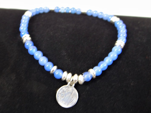 Blue Agate and Stainless Steel Bracelet