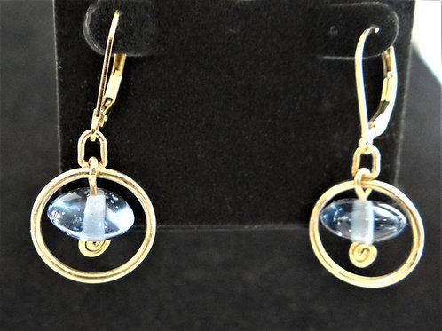 Blue Glass and Gold Filled Earrings