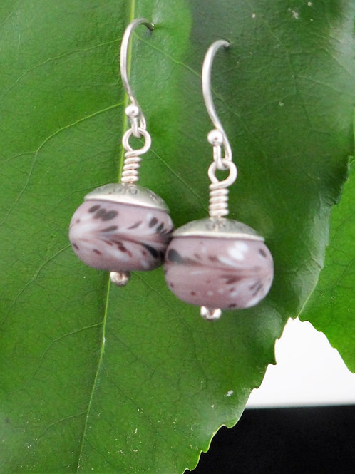 Lilac frosted glass earrings