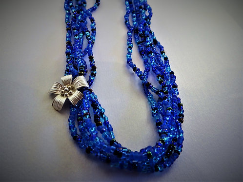 """Shades of Blue"" multi strand necklace"