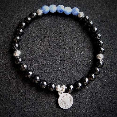 Blue Aventurine and Onyx Bracelet