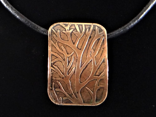 """""""Branching out"""" copper etched pendant"""