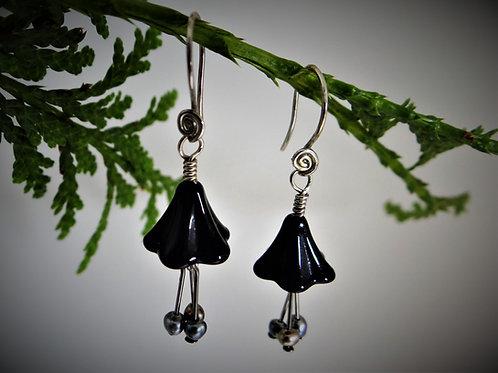 Black Fuschia Earrings