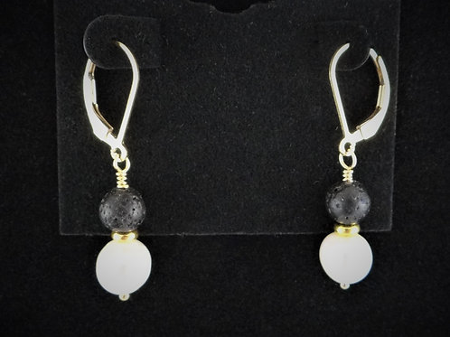Pearl, Lava and Gold Filled Earrings