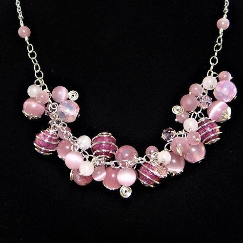 Pink Cluster Necklace