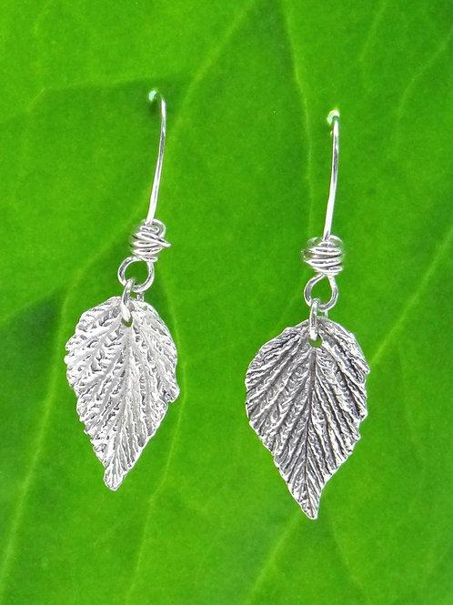 Fine silver Raspberry leaf earrings