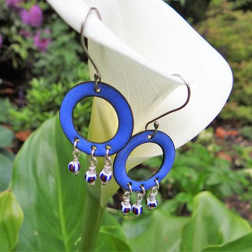 Blue enamelled doughnut earrings